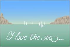 Amo il paesaggio della cartolina del mare Fotografia Stock Libera da Diritti