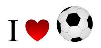 Amo il pallone da calcio isolato Fotografie Stock