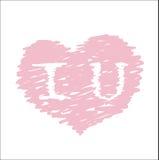 Amo il simbolo del cuore dell'iscrizione di U Giorno di S. Valentino felice, nozze Immagini Stock Libere da Diritti