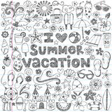 Amo il vettore tropicale di scarabocchio di vacanze estive Fotografia Stock