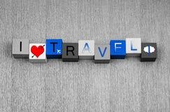 Amo il viaggio, serie del segno per il viaggio d'affari e la volata all'estero Fotografia Stock Libera da Diritti