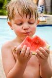 Amo l'anguria. immagine stock libera da diritti