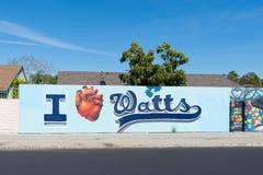 Amo l'arte della via di watt a Los Angeles immagini stock libere da diritti