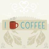 Amo l'insegna della cartolina d'auguri del caffè Fotografie Stock Libere da Diritti