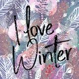 Amo l'inverno, iscrizione e l'inverno d'avanguardia lascia il fondo Illustrazione di vettore, grande elemento di progettazione pe Fotografia Stock Libera da Diritti