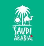Amo la Arabia Saudita en color verde stock de ilustración
