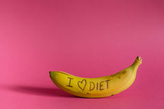 Amo la banana fresca e saporita del segno di dieta Fotografie Stock Libere da Diritti