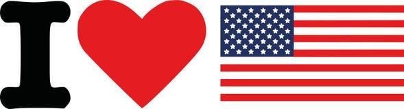 Amo la bandera de Estados Unidos stock de ilustración