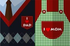Amo a la mamá y amo vector plano del diseño del papá Fotos de archivo