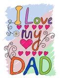 Amo la mia tipografia della maglietta del papà, vettore Immagine Stock Libera da Diritti