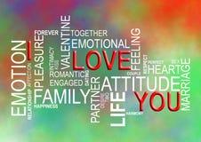Amo la nube de la Usted-palabra Imagen de archivo libre de regalías