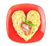 Amo la pasta/spaghetti isolati su bianco Fotografie Stock