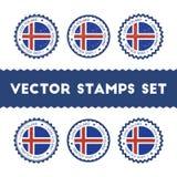 Amo la república de los sellos del vector de Islandia fijados Imagen de archivo libre de regalías