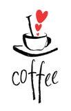 Amo la tarjeta del diseño del café Foto de archivo