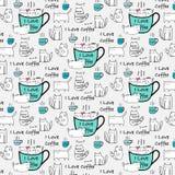 Amo la tipografia del caffè con Cat Hand Drawn Vector Pattern sveglia Immagini Stock Libere da Diritti