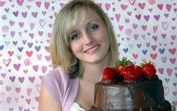 Amo la torta di cioccolato Fotografie Stock Libere da Diritti