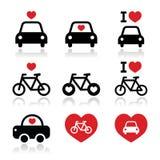 Amo le automobili e bikes le icone messe Immagine Stock Libera da Diritti