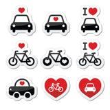 Amo le automobili e bikes le icone messe Immagine Stock
