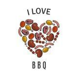 Amo le icone del BBQ Fotografie Stock Libere da Diritti