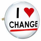 Amo le parole Butotn Pin Evolution Innovation Adapt del cambiamento Immagine Stock
