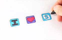 Amo lo skype Fotografie Stock