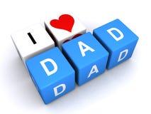 Amo los cubos de la letra del papá del corazón Imágenes de archivo libres de regalías