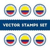 Amo los sellos del vector de Colombia fijados Foto de archivo libre de regalías