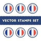 Amo los sellos del vector de Francia fijados Imágenes de archivo libres de regalías