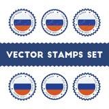 Amo los sellos del vector de la Federación Rusa fijados Imagenes de archivo