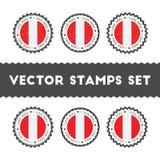 Amo los sellos del vector de Perú fijados Imagen de archivo libre de regalías