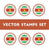 Amo los sellos del vector de Suriname fijados Foto de archivo libre de regalías
