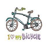 Amo mi diseño de concepto de la bicicleta Mano drenada Imagenes de archivo