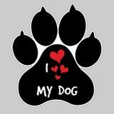 Amo mi insignia del botón de impresión de la pata del pie animal del vector del perro ilustración del vector