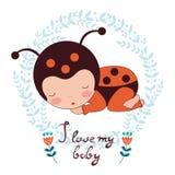Amo mi tarjeta del bebé Ejemplo del bebé adorable Imagen de archivo
