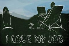 Amo mis trabajos: empresario o empleado que trabaja remotamente con h Fotos de archivo