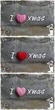 Amo rayas del rojo de la decoración de la Navidad del mensaje de Navidad que la tela oye Foto de archivo