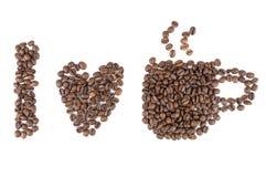 Amo símbolos del café imagen de archivo
