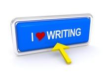 Amo scrivere il bottone Fotografie Stock