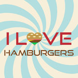 Amo slogan semplice eps10 del fondo degli hamburger il retro Fotografie Stock Libere da Diritti