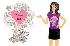 Amo té con la taza y la muchacha del zen Imagen de archivo libre de regalías