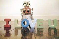 AMO U con las letras de madera Imagenes de archivo