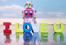 AMO U con las letras de madera Foto de archivo libre de regalías