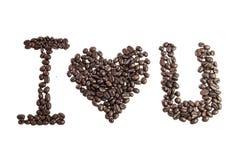 Amo U fatto dai chicchi di caffè Fotografia Stock Libera da Diritti