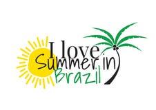 Amo verano en el Brasil, redactando diseño, las etiquetas de la pared, Art Decor aislé en el fondo blanco libre illustration