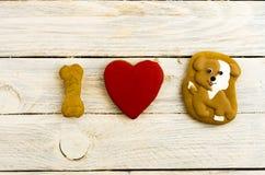 Amo y adoro perros El perro es mi amigo Visión superior Imagen de archivo libre de regalías