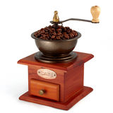 Amoladora de café de cobre vieja foto de archivo