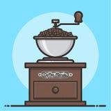 Amoladora de café de madera con los granos de café Diseño plano Imágenes de archivo libres de regalías