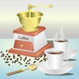 Amoladora de café manual stock de ilustración
