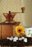 Amoladora de café y grano de café Imagen de archivo libre de regalías