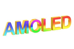 AMOLED concept, 3D rendering. On white background Royalty Free Stock Images